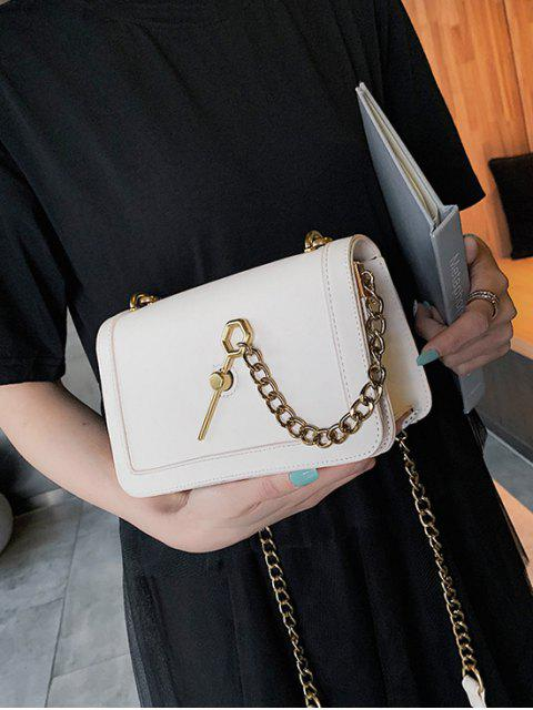 fancy Creative Key Hasp Chain Crossbody Bag - WHITE  Mobile