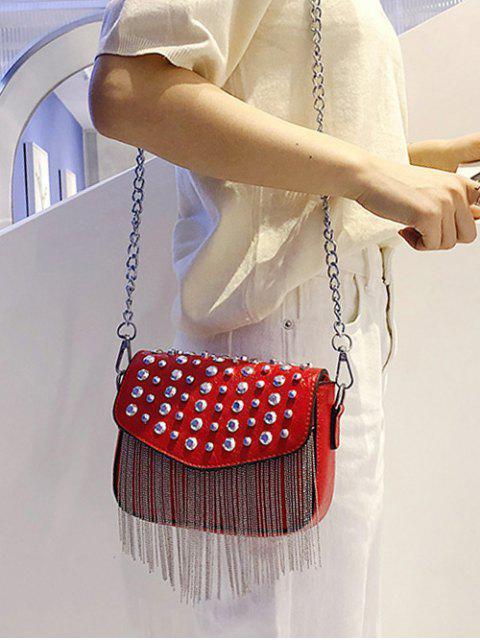 sale Rivet Design Tassel Crossbody Bag - RED  Mobile