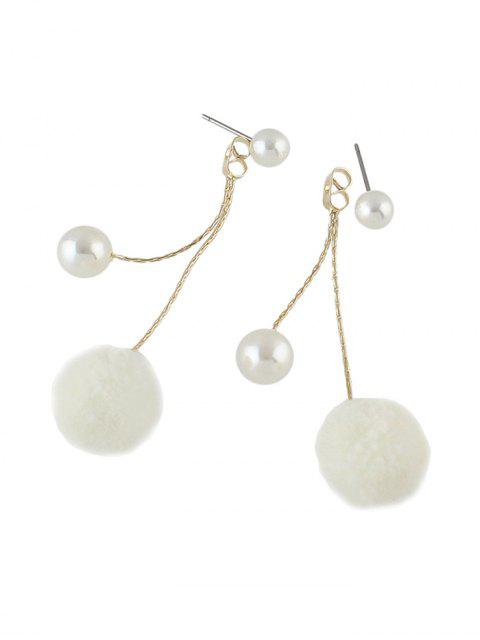 women Fuzzy Ball Pearl Decorated Dangle Earrings - WHITE  Mobile