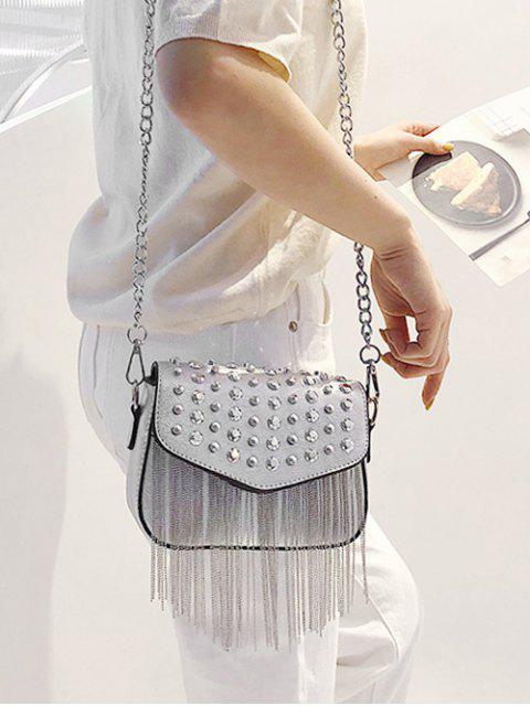 ladies Rivet Design Tassel Crossbody Bag - SILVER  Mobile