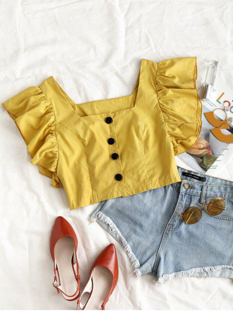 latest ZAFUL Square Neck Butterfly Sleeve Crop Blouse - BEE YELLOW M Mobile