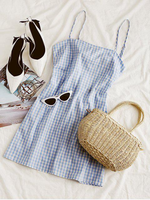 outfits ZAFUL Tie Gingham Cut Out Mini Dress - CHECKED S Mobile