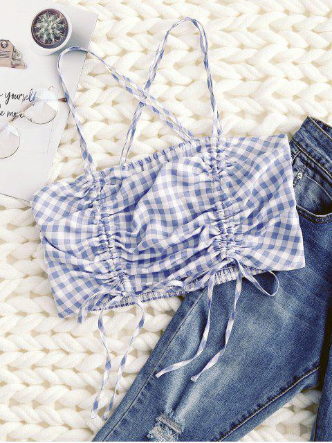 outfits ZAFUL Gingham Cross Drawstring Smocked Cami Top - CRYSTAL BLUE M Mobile