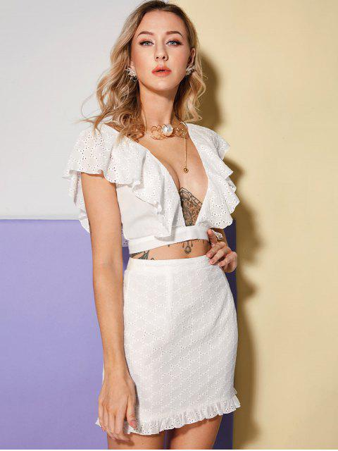 outfit ZAFUL Eyelet Plunge Flounce Top and Skirt Set - WHITE L Mobile