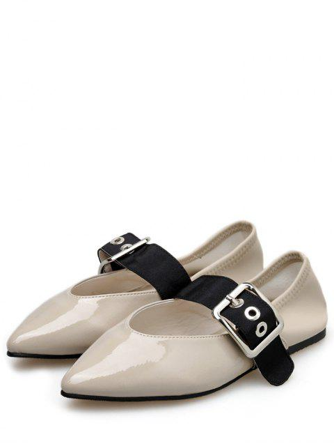 womens Pointed Toe Buckle Strap Flat Shoes - APRICOT EU 39 Mobile