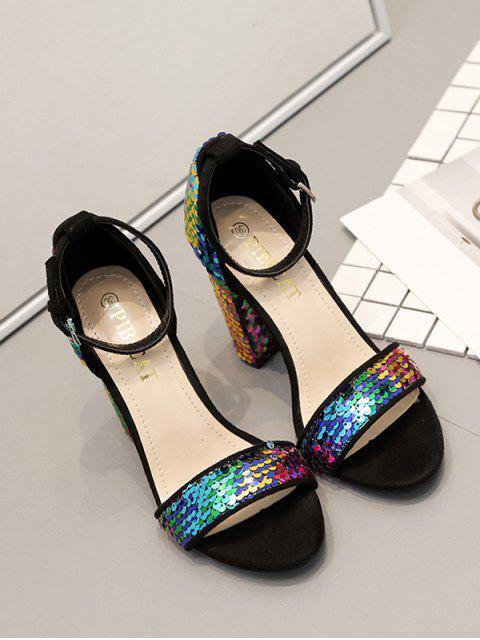 best Rainbow Sequined High Heel Sandals - MULTI EU 40 Mobile