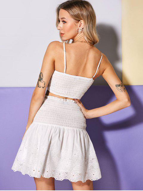 lady ZAFUL Broderie Anglaise Cami Top and Mini Skirt Set - WHITE L Mobile