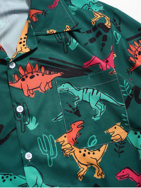 Camisa de manga corta con estampado de plantas de dinosaurio - Mar Verde Mediana XL Mobile