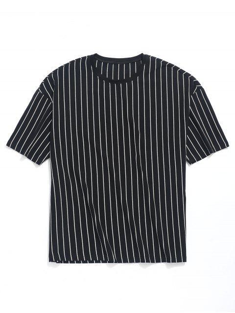 條紋印花露肩T卹 - 黑色 L Mobile