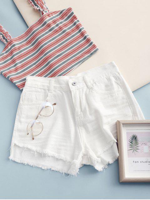 latest Frayed Hem Pockets Denim Shorts - WHITE L Mobile
