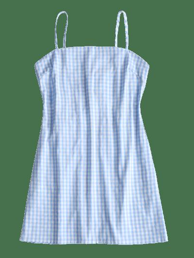 ZAFUL Tie Gingham Cut Out Mini Dress5
