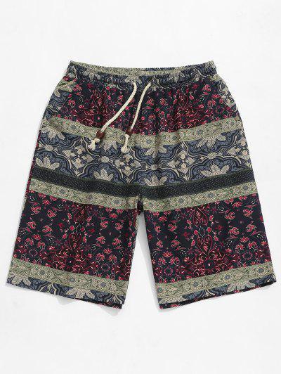 3410417e63216 Tribal Flower Print Elastic Casual Shorts - Multi M ...