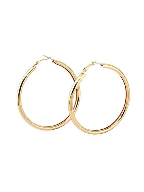 Stylish Round Ring Metal Street Hoop Earrings