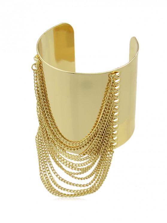 buy Punk Style Metal Chains Adjustable Bracelet - GOLD