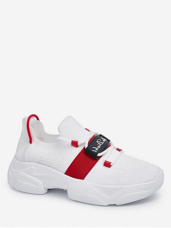 women's Letter Detail Breathable Sports Shoes - WHITE EU 37