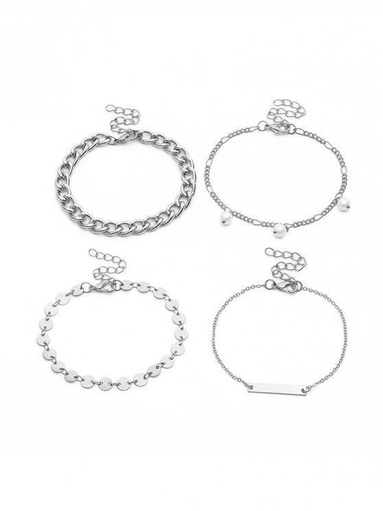 Bracelet Motif de Chaîne Perlé en Métal 4 Pièces - Argent