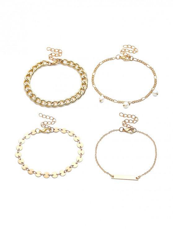 Bracelet Motif de Chaîne Perlé en Métal 4 Pièces - Or