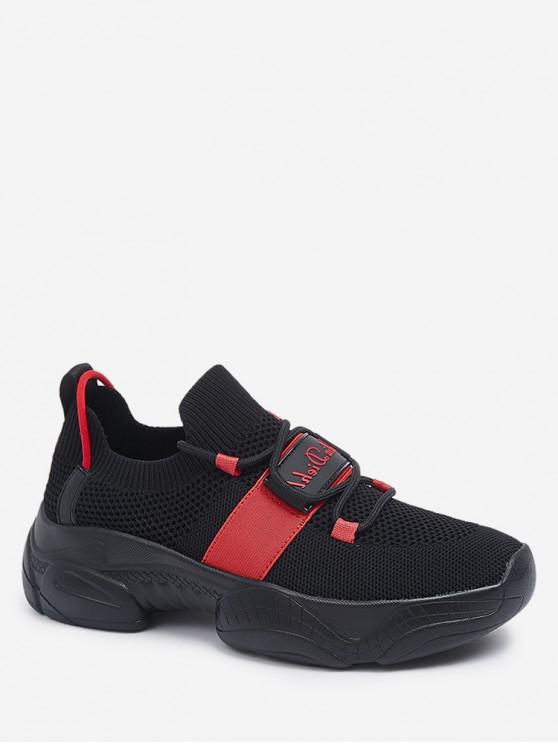 online Letter Detail Breathable Sports Shoes - BLACK EU 37