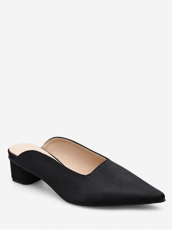 shops Pointed Toe Half Chunky Heel Slides - BLACK EU 39