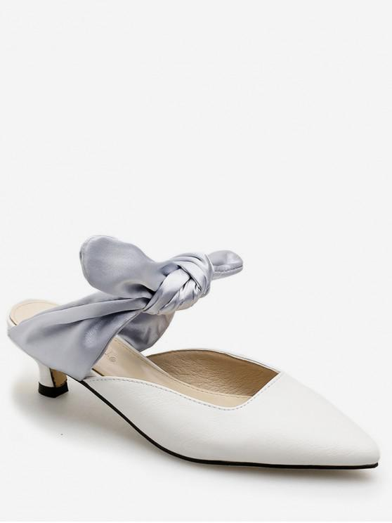 fashion Pointed Toe Contrast Bow Slides - GRAY EU 39