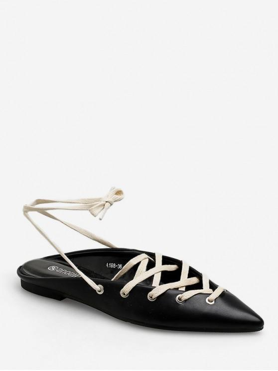 chic Pointed Toe Lace Up Flat Shoes - BLACK EU 39