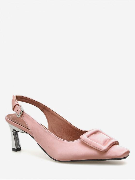 d1292f3966d 24% OFF   NEW  2019 Square Toe Buckle Slingback Pumps In PINK