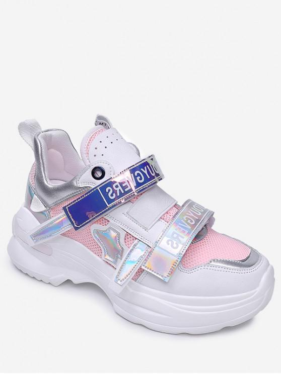 hot Holographic Mesh Breathable Sports Shoes - PINK EU 37