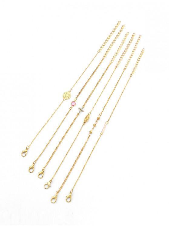 trendy 6Pcs Hollow Cross Bracelet Set - GOLD