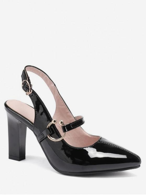 lady Pointed Toe Patent Leather Slingback Sandals - BLACK EU 40
