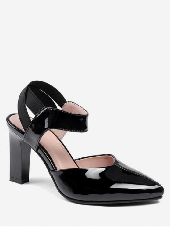 hot Patent Leather Pointed Poe Heeled Sandals - BLACK EU 40