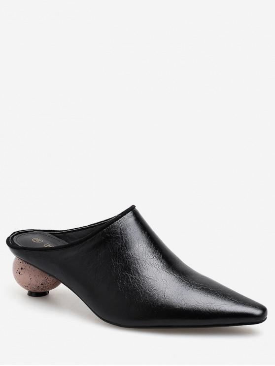 chic Pointed Toe Strange Heel Half Slides - BLACK EU 35