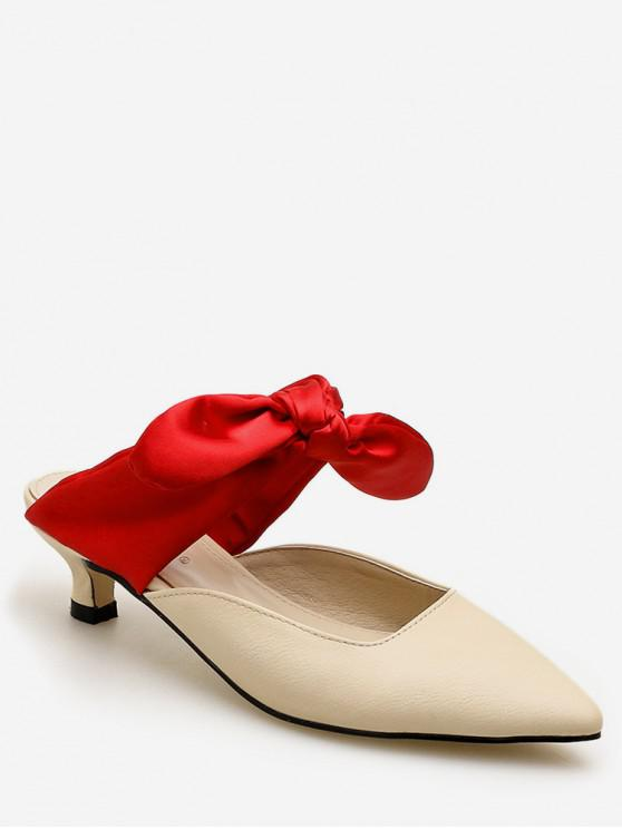 d214a3192548 20% OFF  2019 Pointed Toe Contrast Bow Slides In RED