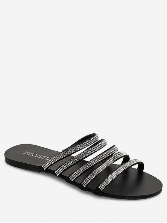 Sandalias planas de diamantes de imitación con tiras - Negro EU 39