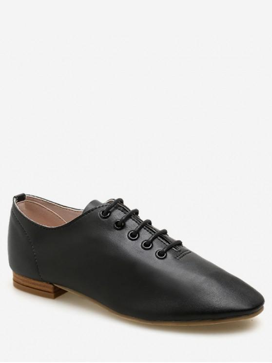 lady Lace Up Oxford Flat Shoes - BLACK EU 35