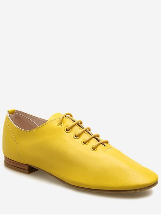 ladies Lace Up Oxford Flat Shoes - YELLOW EU 37