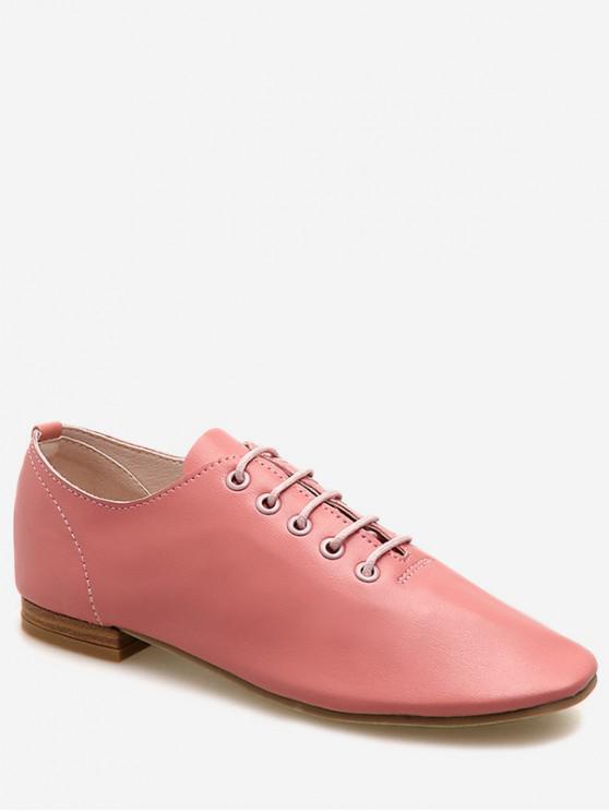 lady Lace Up Oxford Flat Shoes - PINK EU 36