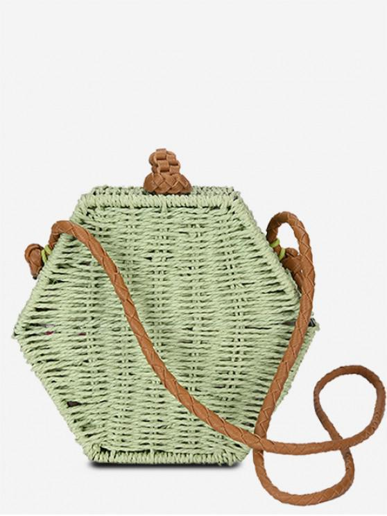 shop Personality Hexagon Straw Crossbody Bag - DARK SEA GREEN