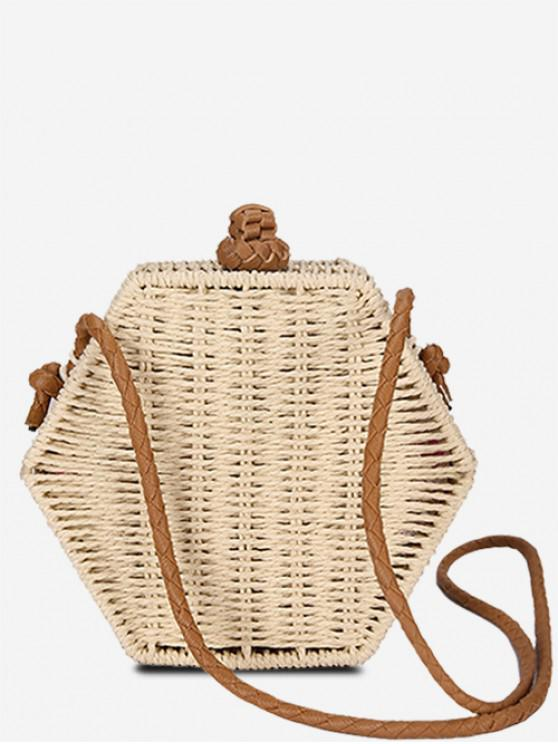 sale Personality Hexagon Straw Crossbody Bag - BEIGE
