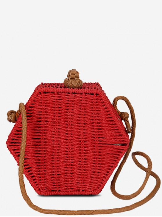 affordable Personality Hexagon Straw Crossbody Bag - RED