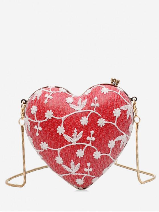 best Flower Pattern Chain Heart Crossbody Bag - RED