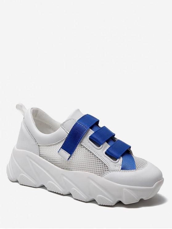shop Contrast Color Mesh Flat Platform Shoes - BLUE EU 38