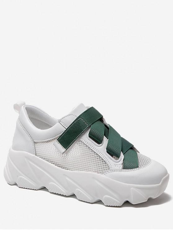 Zapatos de plataforma plana de malla de color de contraste - Verde EU 37