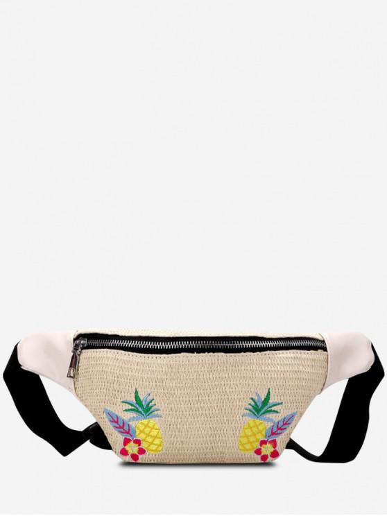 trendy Pineapple Pattern Straw Waist Bag - KHAKI