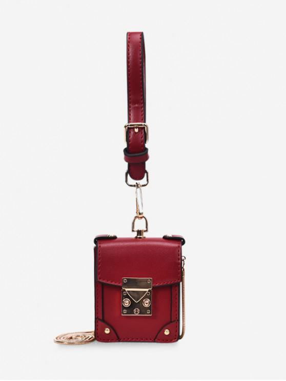 fancy Chain Strap PU Crossbody Bag - RED WINE
