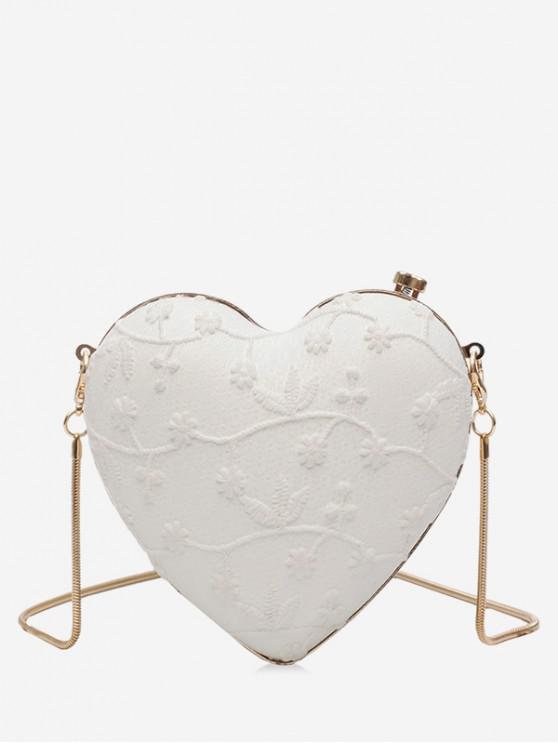 sale Flower Pattern Chain Heart Crossbody Bag - WHITE