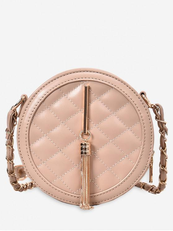 outfit Fringed Quilted Round Crossbody Bag - KHAKI