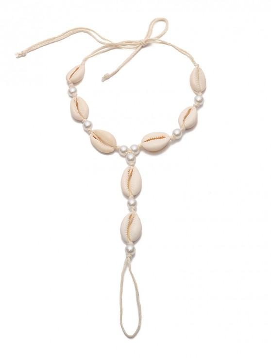 shops Ethnic Shell Faux Pearls Finger Anklets - WHITE
