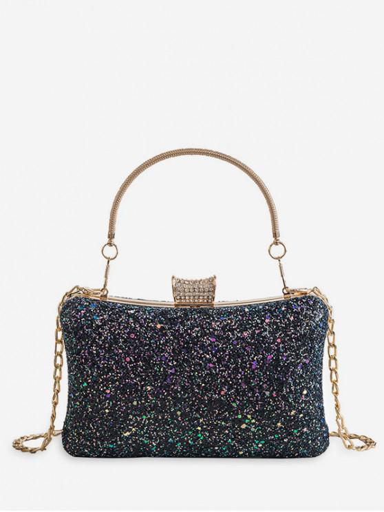 fancy Glitter Hasp Portable Mini Tote Bag - BLACK
