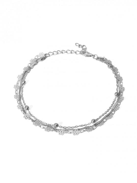 unique Simple Multilayered Geometric Beach Anklet - SILVER