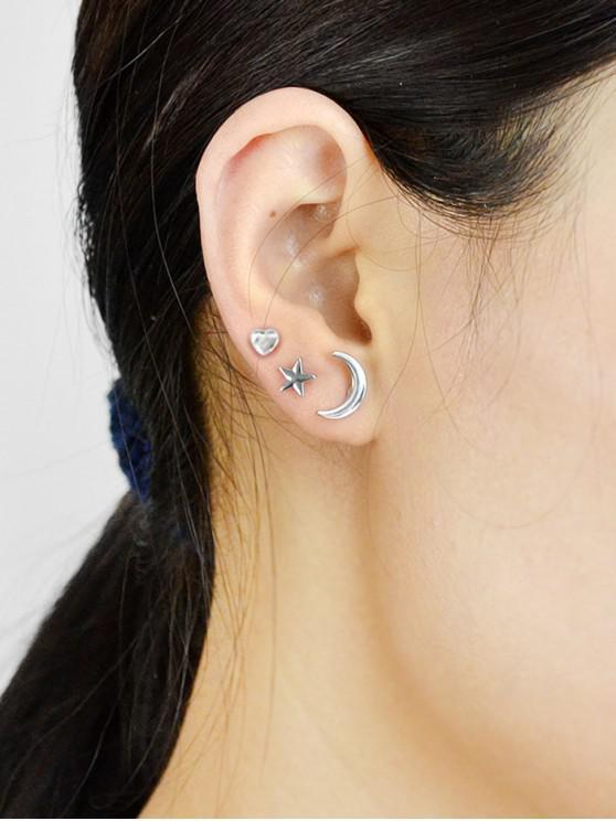 sale Moon Star Heart Stud Earrings Set - SILVER